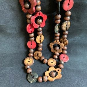"Flowers Coconut Shell & Necklace 60"" Long"